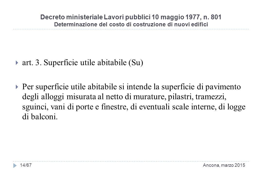 Decreto ministeriale Lavori pubblici 10 maggio 1977, n. 801 Determinazione del costo di costruzione di nuovi edifici  art. 3. Superficie utile abitab