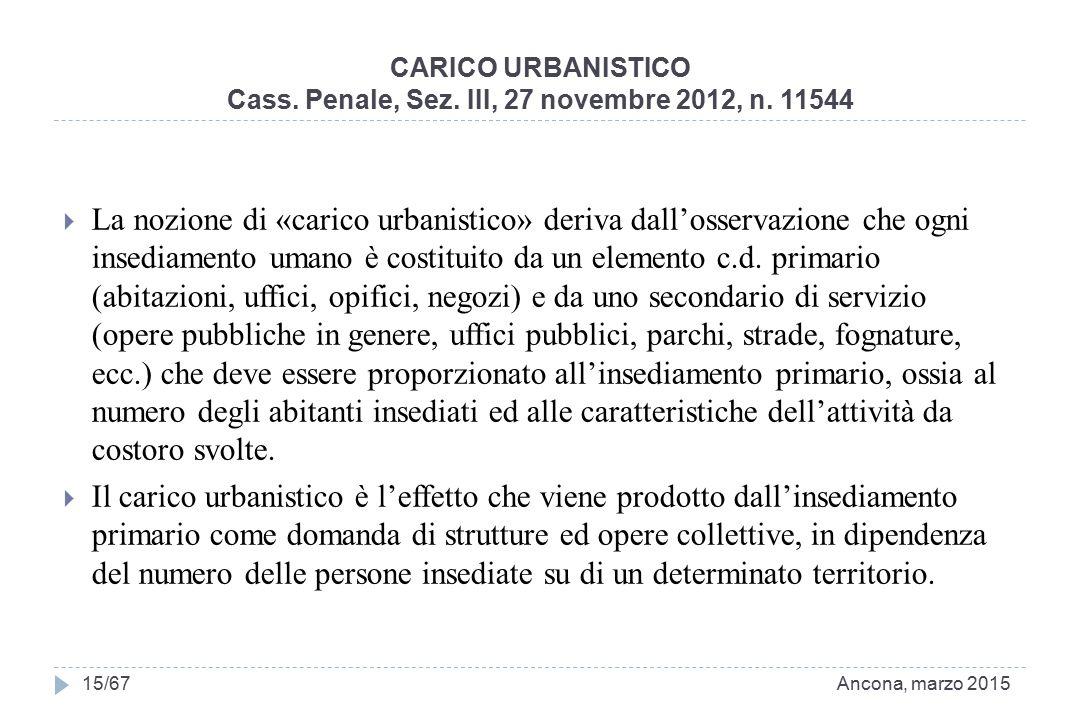 CARICO URBANISTICO Cass. Penale, Sez. III, 27 novembre 2012, n. 11544  La nozione di «carico urbanistico» deriva dall'osservazione che ogni insediame