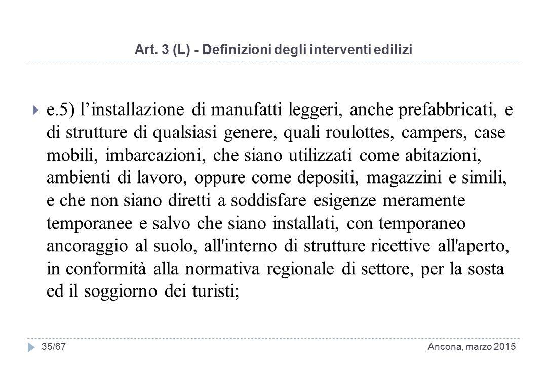 Art. 3 (L) - Definizioni degli interventi edilizi  e.5) l'installazione di manufatti leggeri, anche prefabbricati, e di strutture di qualsiasi genere