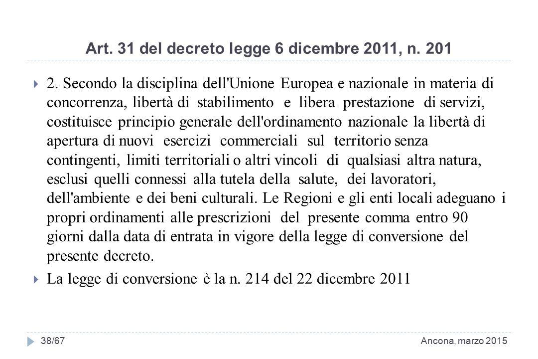 Art. 31 del decreto legge 6 dicembre 2011, n. 201  2. Secondo la disciplina dell'Unione Europea e nazionale in materia di concorrenza, libertà di sta