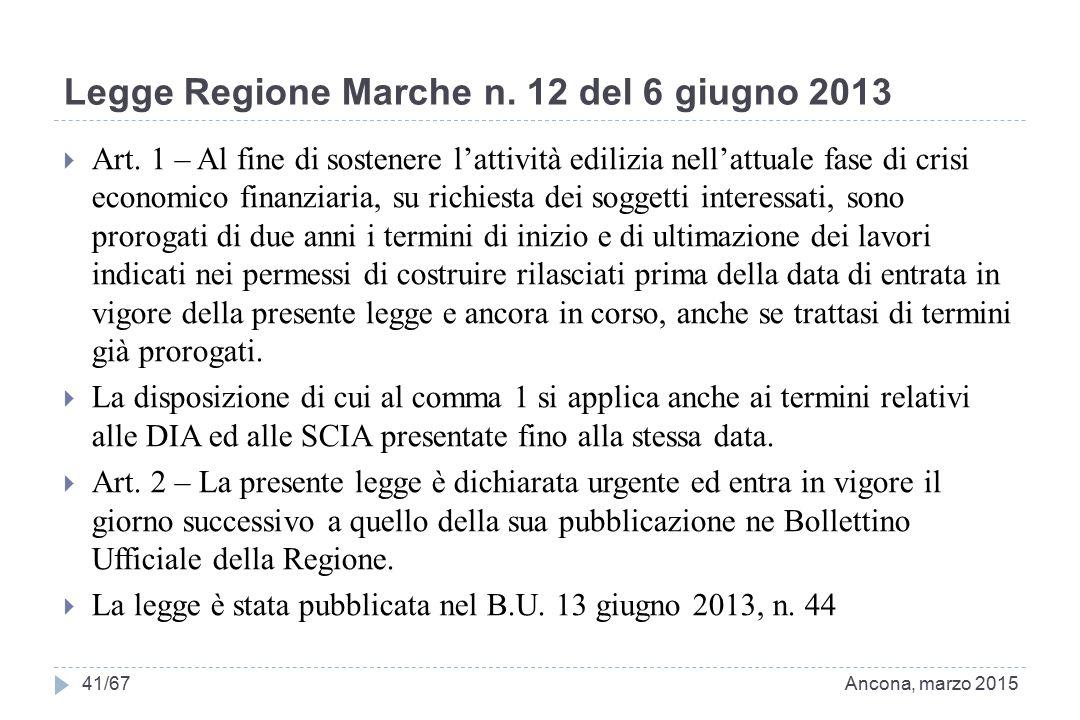 Legge Regione Marche n. 12 del 6 giugno 2013  Art. 1 – Al fine di sostenere l'attività edilizia nell'attuale fase di crisi economico finanziaria, su