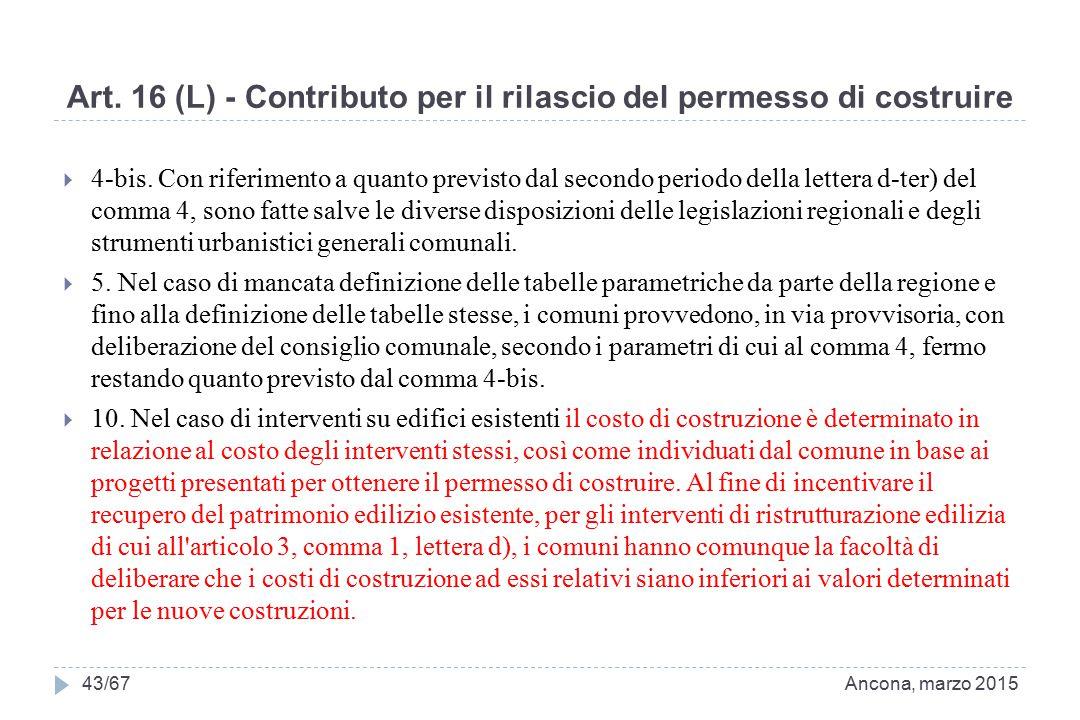Art. 16 (L) - Contributo per il rilascio del permesso di costruire  4-bis. Con riferimento a quanto previsto dal secondo periodo della lettera d-ter)