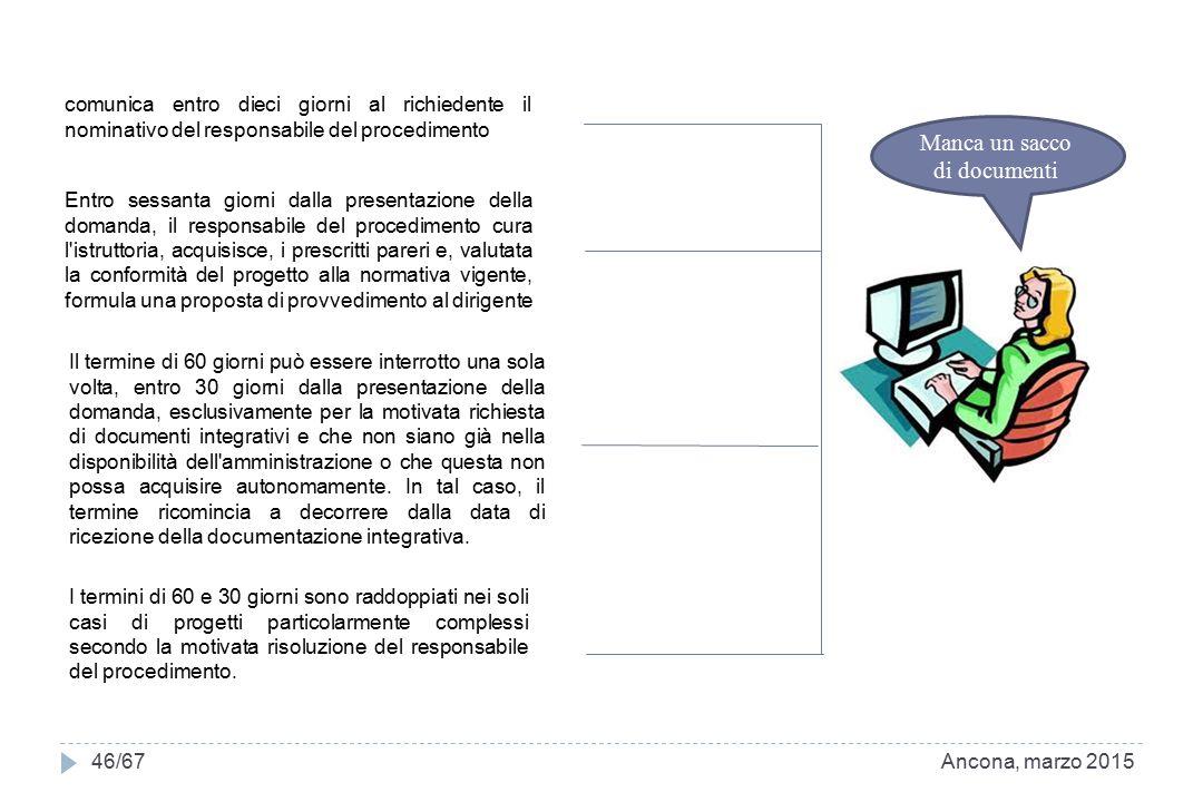 Ancona, marzo 201546/67 comunica entro dieci giorni al richiedente il nominativo del responsabile del procedimento Entro sessanta giorni dalla present