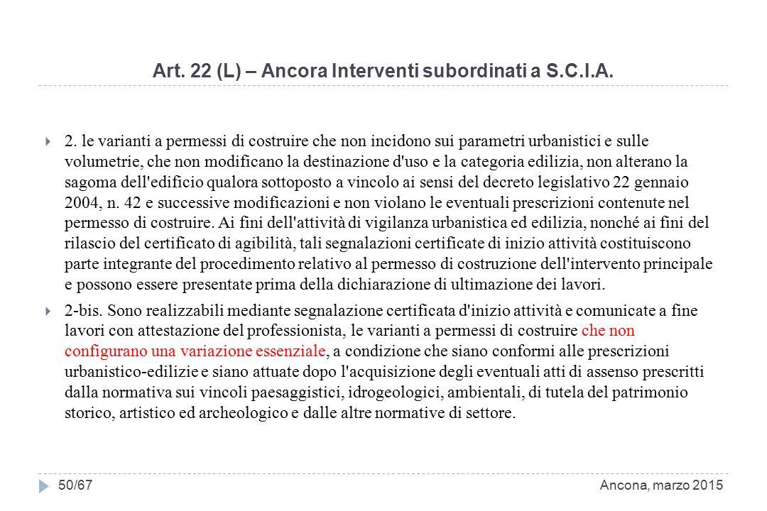 Art. 22 (L) – Ancora Interventi subordinati a S.C.I.A.  2. le varianti a permessi di costruire che non incidono sui parametri urbanistici e sulle vol