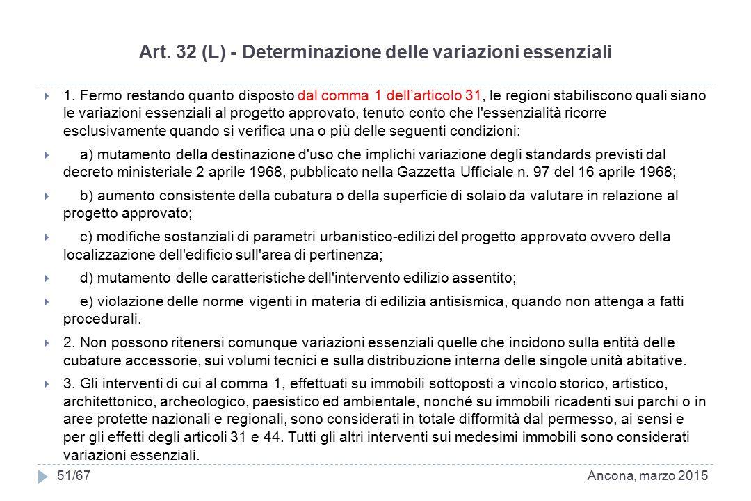 Art. 32 (L) - Determinazione delle variazioni essenziali  1. Fermo restando quanto disposto dal comma 1 dell'articolo 31, le regioni stabiliscono qua