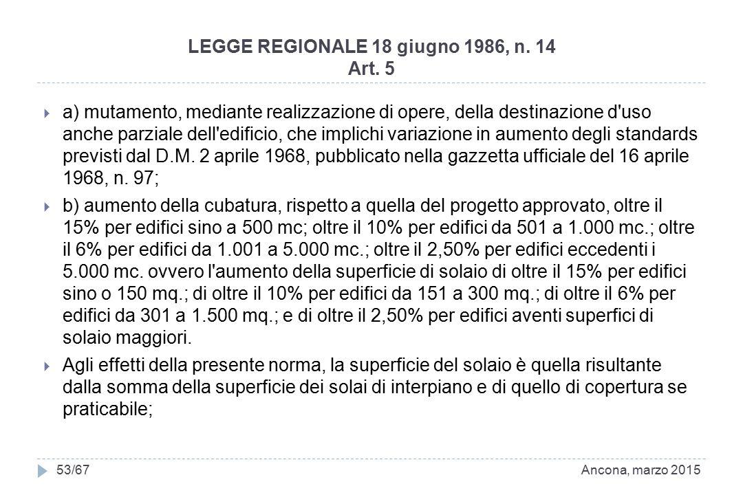 LEGGE REGIONALE 18 giugno 1986, n. 14 Art. 5  a) mutamento, mediante realizzazione di opere, della destinazione d'uso anche parziale dell'edificio, c