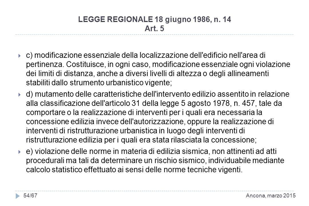 LEGGE REGIONALE 18 giugno 1986, n. 14 Art. 5  c) modificazione essenziale della localizzazione dell'edificio nell'area di pertinenza. Costituisce, in