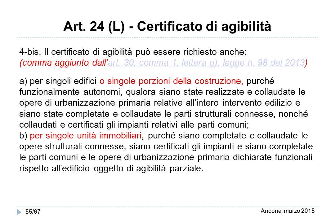 Ancona, marzo 2015 55/67 Art. 24 (L) - Certificato di agibilità 4-bis. Il certificato di agibilità può essere richiesto anche: (comma aggiunto dall'ar