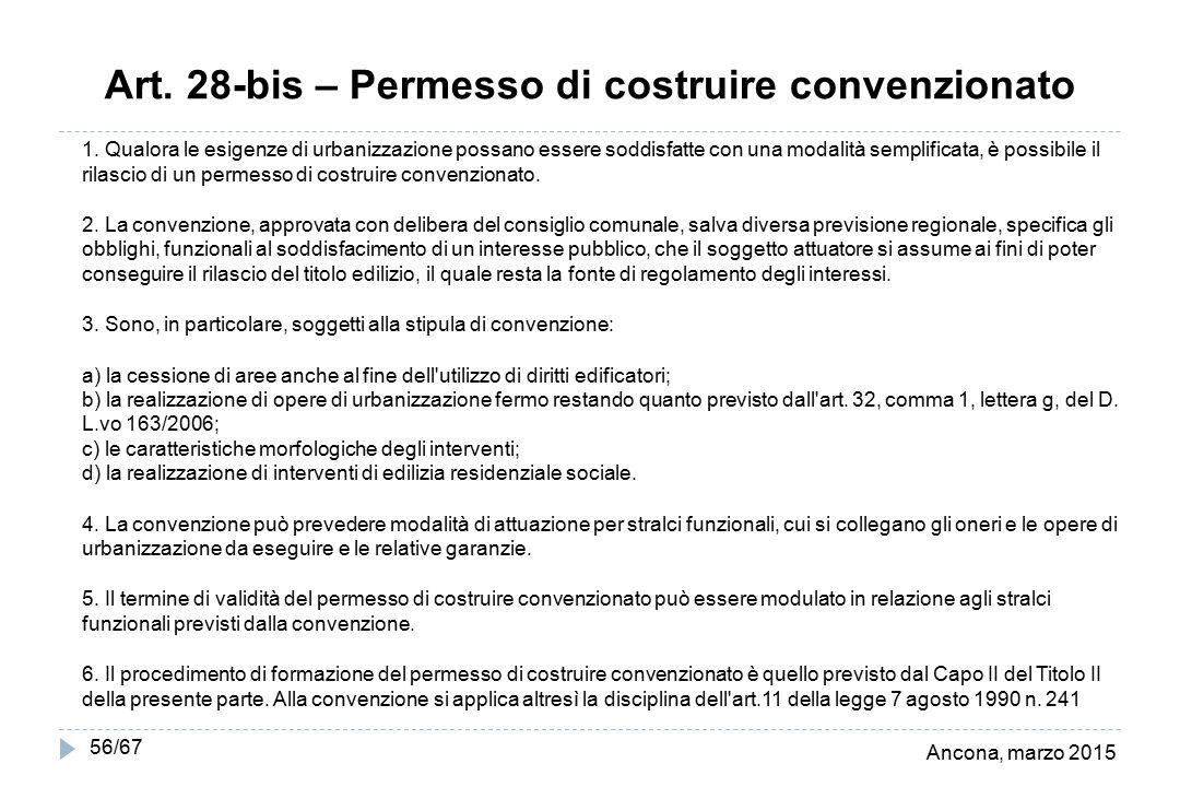 Ancona, marzo 2015 56/67 Art. 28-bis – Permesso di costruire convenzionato 1. Qualora le esigenze di urbanizzazione possano essere soddisfatte con una