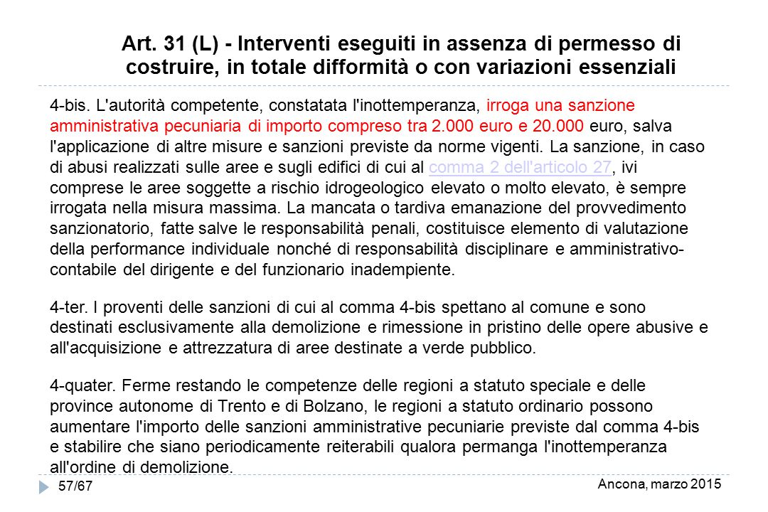 Ancona, marzo 2015 57/67 Art. 31 (L) - Interventi eseguiti in assenza di permesso di costruire, in totale difformità o con variazioni essenziali 4-bis