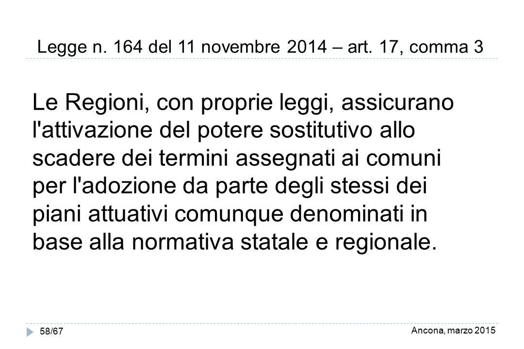 Ancona, marzo 2015 58/67 Legge n. 164 del 11 novembre 2014 – art. 17, comma 3 Le Regioni, con proprie leggi, assicurano l'attivazione del potere sosti
