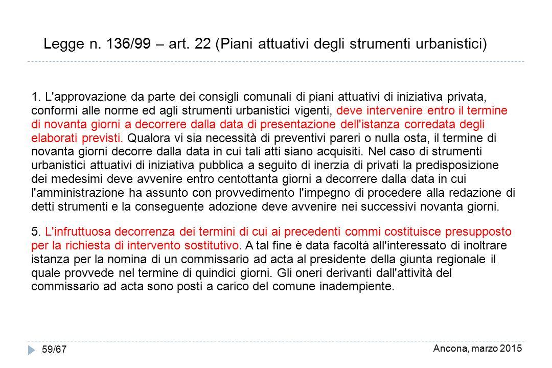 Ancona, marzo 2015 59/67 Legge n. 136/99 – art. 22 (Piani attuativi degli strumenti urbanistici) 1. L'approvazione da parte dei consigli comunali di p