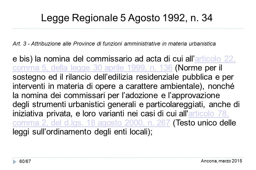 Ancona, marzo 2015 60/67 Legge Regionale 5 Agosto 1992, n. 34 Art. 3 - Attribuzione alle Province di funzioni amministrative in materia urbanistica e