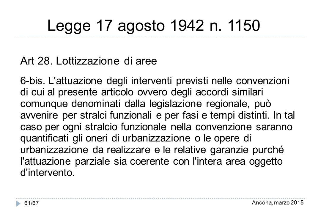 Ancona, marzo 2015 61/67 Legge 17 agosto 1942 n. 1150 Art 28. Lottizzazione di aree 6-bis. L'attuazione degli interventi previsti nelle convenzioni di