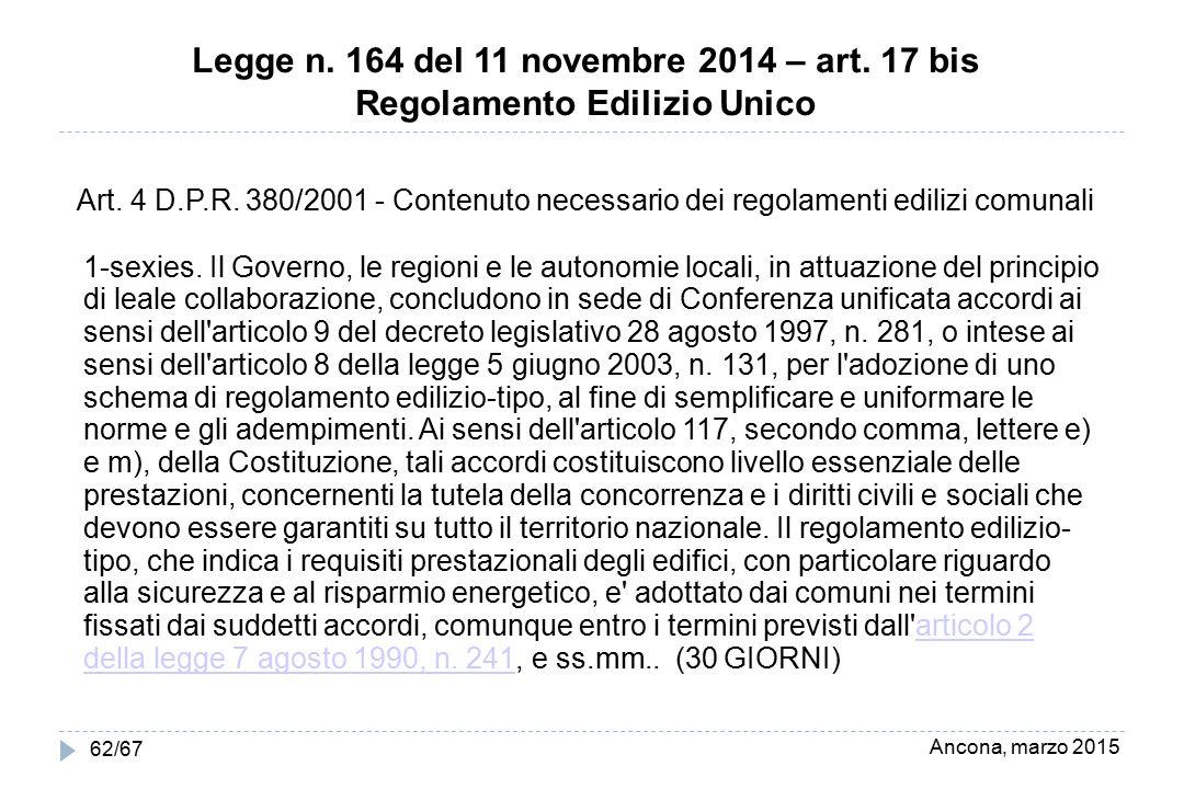 Ancona, marzo 2015 62/67 Legge n. 164 del 11 novembre 2014 – art. 17 bis Regolamento Edilizio Unico Art. 4 D.P.R. 380/2001 - Contenuto necessario dei