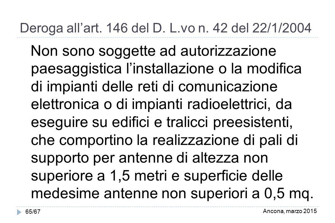 Deroga all'art. 146 del D. L.vo n. 42 del 22/1/2004 Non sono soggette ad autorizzazione paesaggistica l'installazione o la modifica di impianti delle