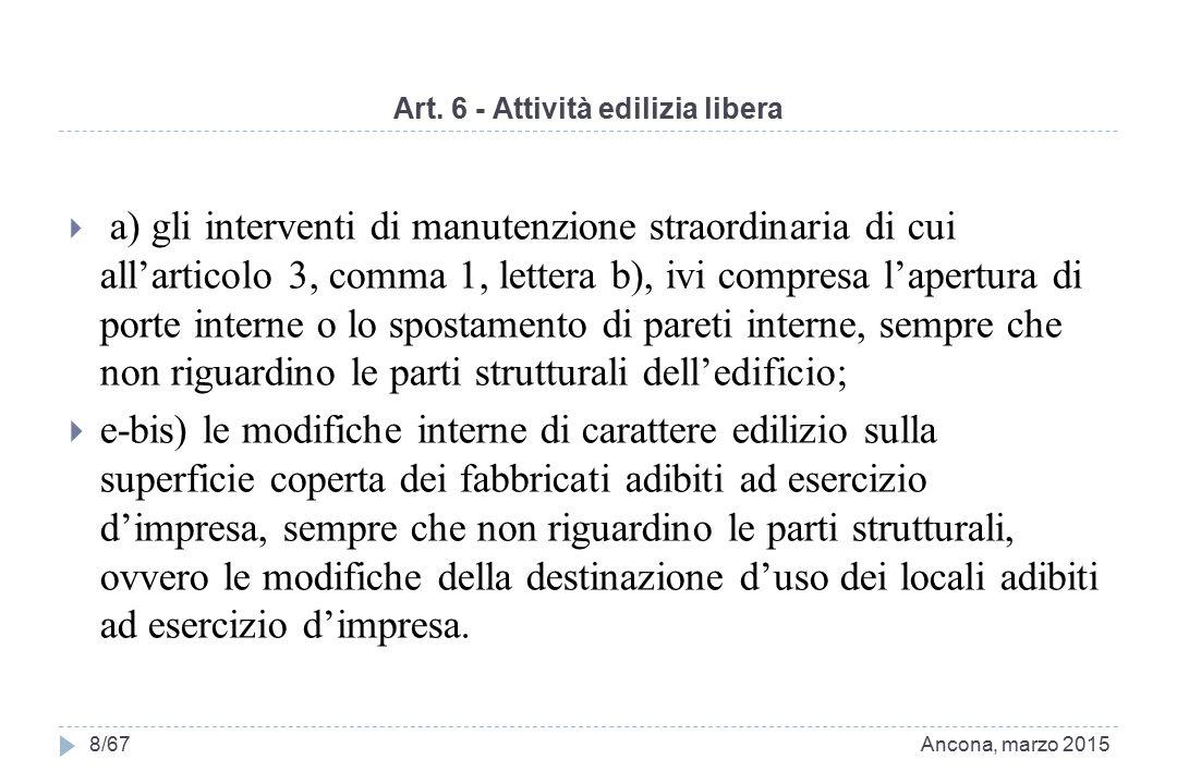 Art. 6 - Attività edilizia libera  a) gli interventi di manutenzione straordinaria di cui all'articolo 3, comma 1, lettera b), ivi compresa l'apertur