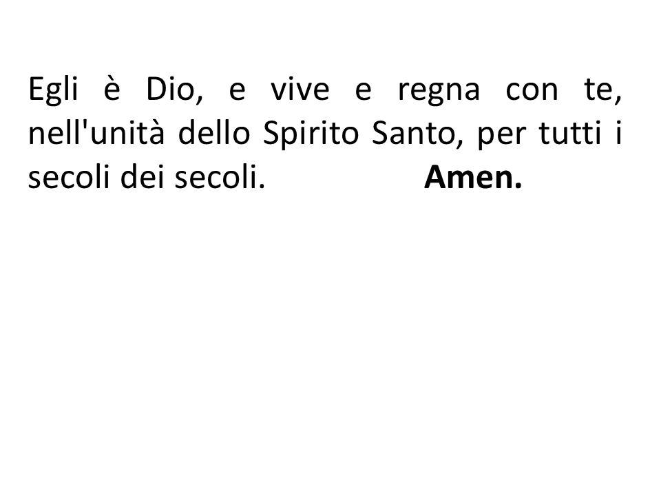 Egli è Dio, e vive e regna con te, nell'unità dello Spirito Santo, per tutti i secoli dei secoli. Amen.