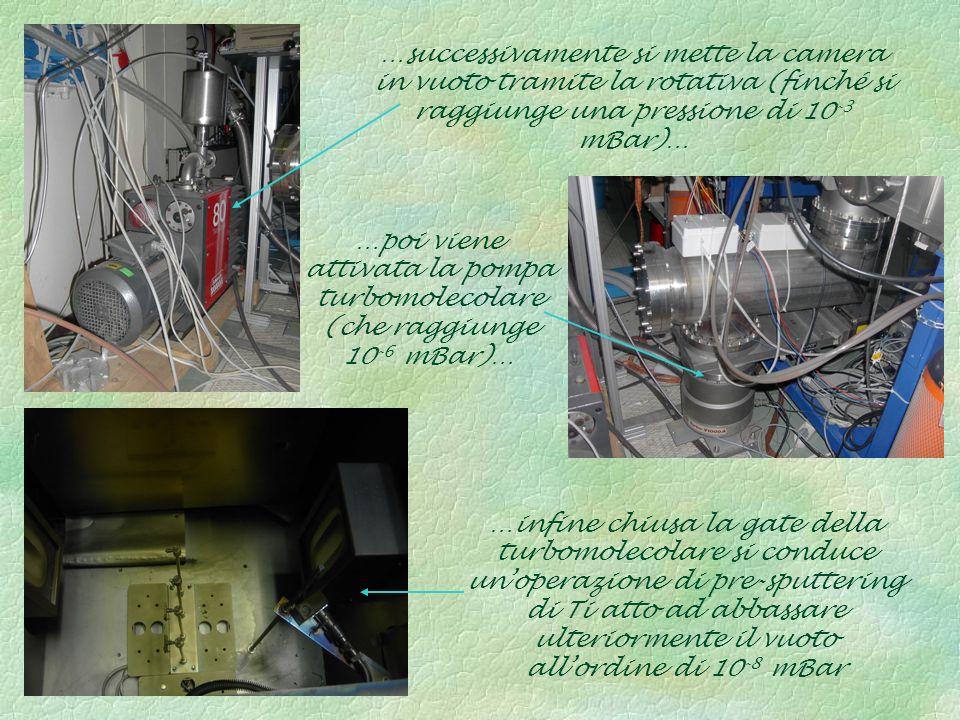 …poi viene attivata la pompa turbomolecolare (che raggiunge 10 -6 mBar)… …successivamente si mette la camera in vuoto tramite la rotativa (finché si r