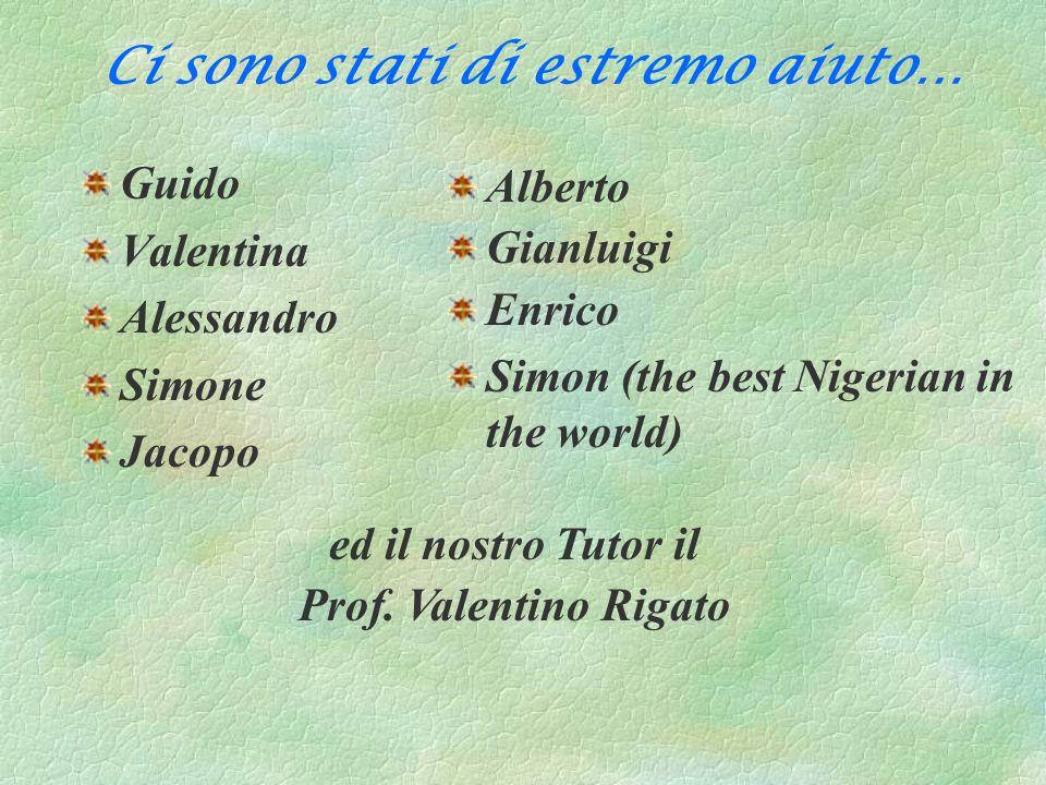 Ci sono stati di estremo aiuto… Guido Valentina Alessandro Simone Jacopo Alberto Gianluigi Enrico Simon (the best Nigerian in the world) ed il nostro
