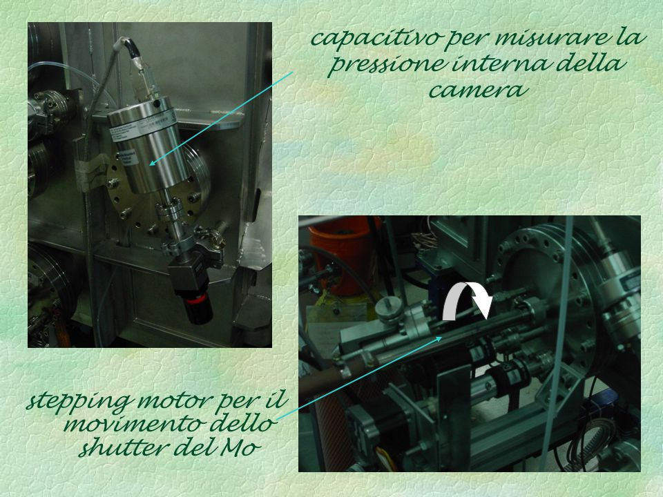 flussimetri che consentono l'entrata dei gas usati (Ar e H) stepping motor dell'albero di rotazione dei due portacampioni fotocellule ventola di raffreddamento