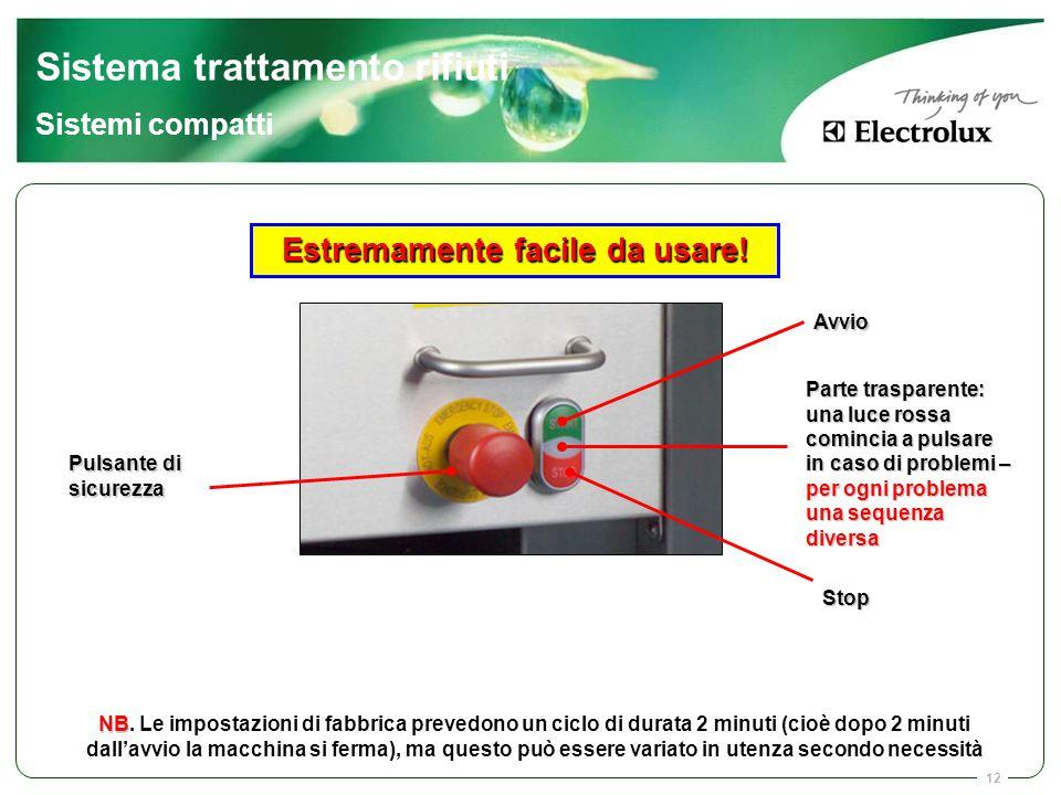 12 Avvio Stop Parte trasparente: una luce rossa comincia a pulsare in caso di problemi – per ogni problema una sequenza diversa Pulsante di sicurezza