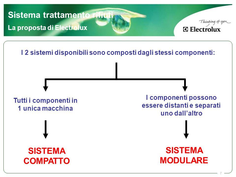 7 I 2 sistemi disponibili sono composti dagli stessi componenti: Tutti i componenti in 1 unica macchina SISTEMA COMPATTO I componenti possono essere d
