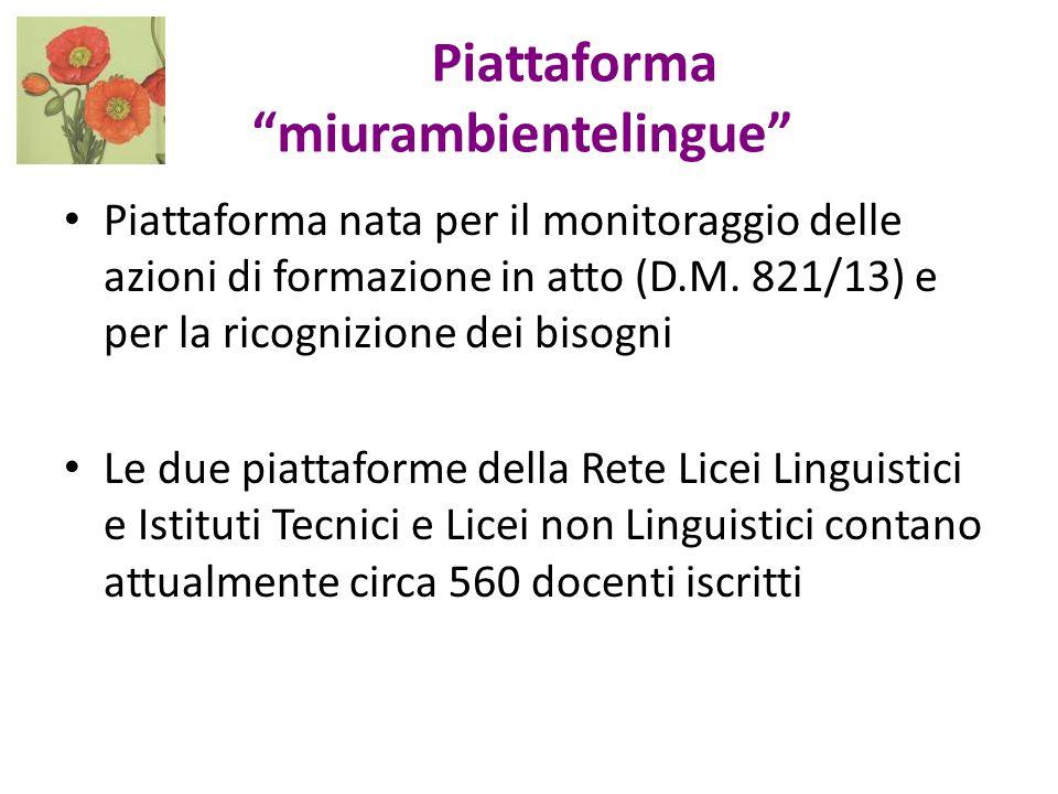 """Piattaforma """"miurambientelingue"""" Piattaforma nata per il monitoraggio delle azioni di formazione in atto (D.M. 821/13) e per la ricognizione dei bisog"""