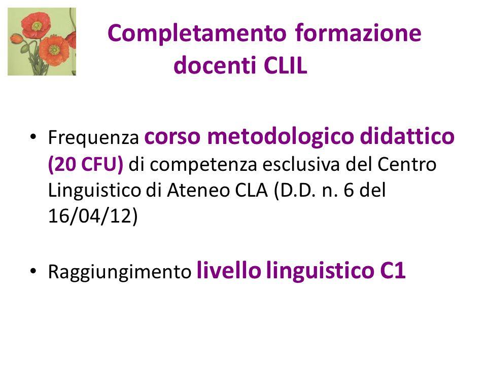 Completamento formazione docenti CLIL Frequenza corso metodologico didattico (20 CFU) di competenza esclusiva del Centro Linguistico di Ateneo CLA (D.