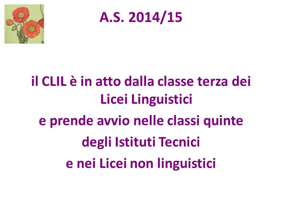A.S. 2014/15 il CLIL è in atto dalla classe terza dei Licei Linguistici e prende avvio nelle classi quinte degli Istituti Tecnici e nei Licei non ling
