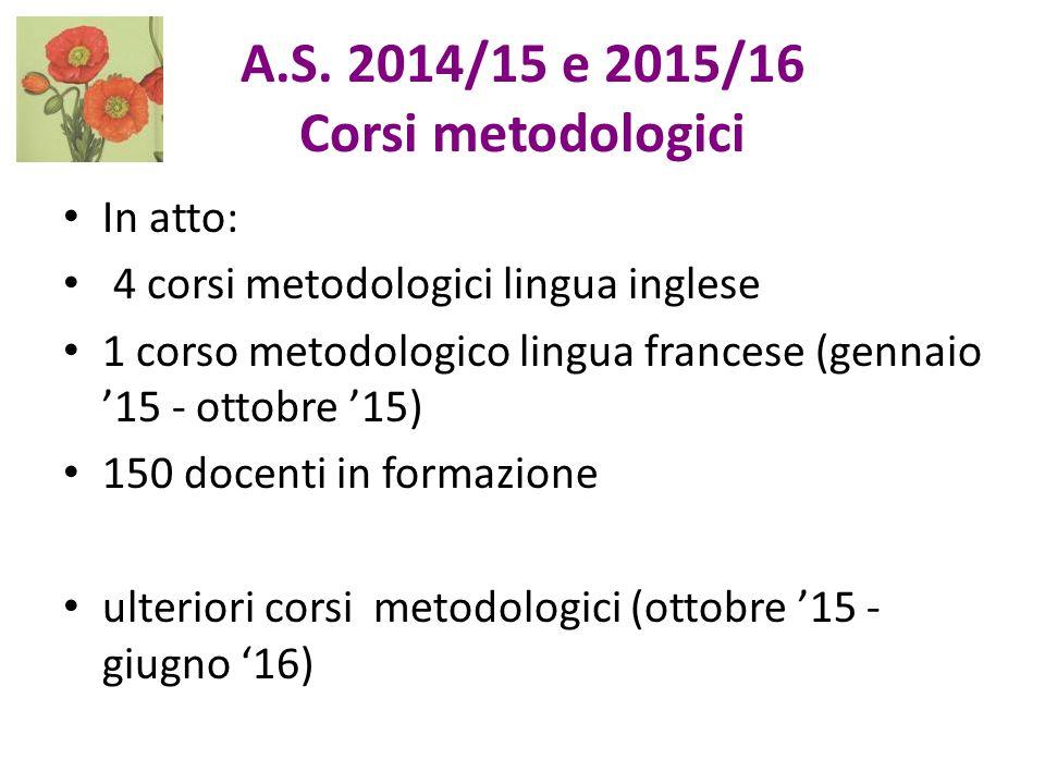 A.S. 2014/15 e 2015/16 Corsi metodologici In atto: 4 corsi metodologici lingua inglese 1 corso metodologico lingua francese (gennaio '15 - ottobre '15