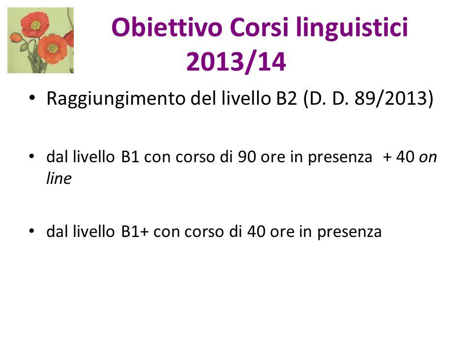 Obiettivo Corsi linguistici 2013/14 Raggiungimento del livello B2 (D. D. 89/2013) dal livello B1 con corso di 90 ore in presenza + 40 on line dal live