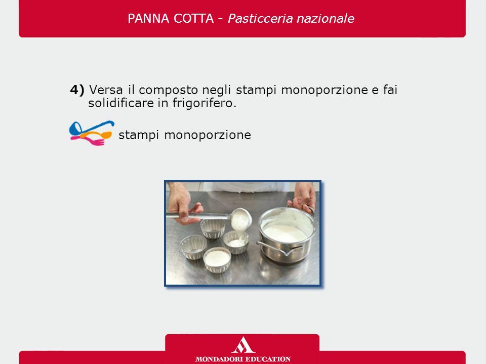 4) Versa il composto negli stampi monoporzione e fai solidificare in frigorifero. stampi monoporzione PANNA COTTA - Pasticceria nazionale