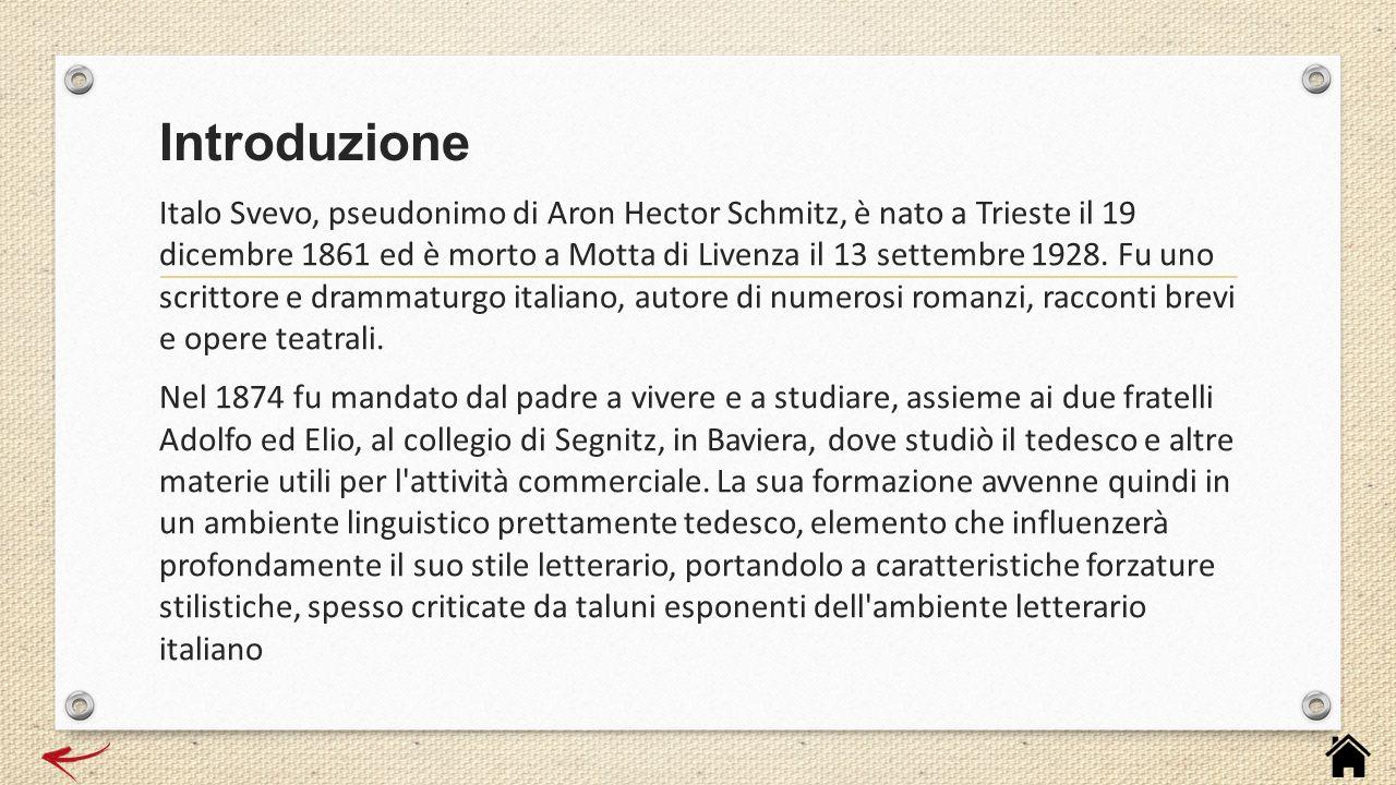 Italo Svevo, pseudonimo di Aron Hector Schmitz, è nato a Trieste il 19 dicembre 1861 ed è morto a Motta di Livenza il 13 settembre 1928. Fu uno scritt