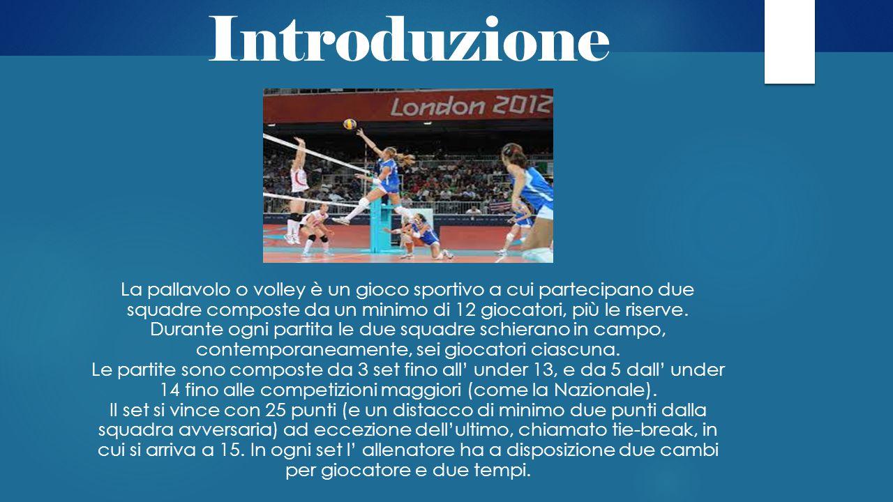 Introduzione La pallavolo o volley è un gioco sportivo a cui partecipano due squadre composte da un minimo di 12 giocatori, più le riserve. Durante og