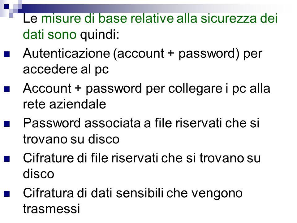 Le misure di base relative alla sicurezza dei dati sono quindi: Autenticazione (account + password) per accedere al pc Account + password per collegar