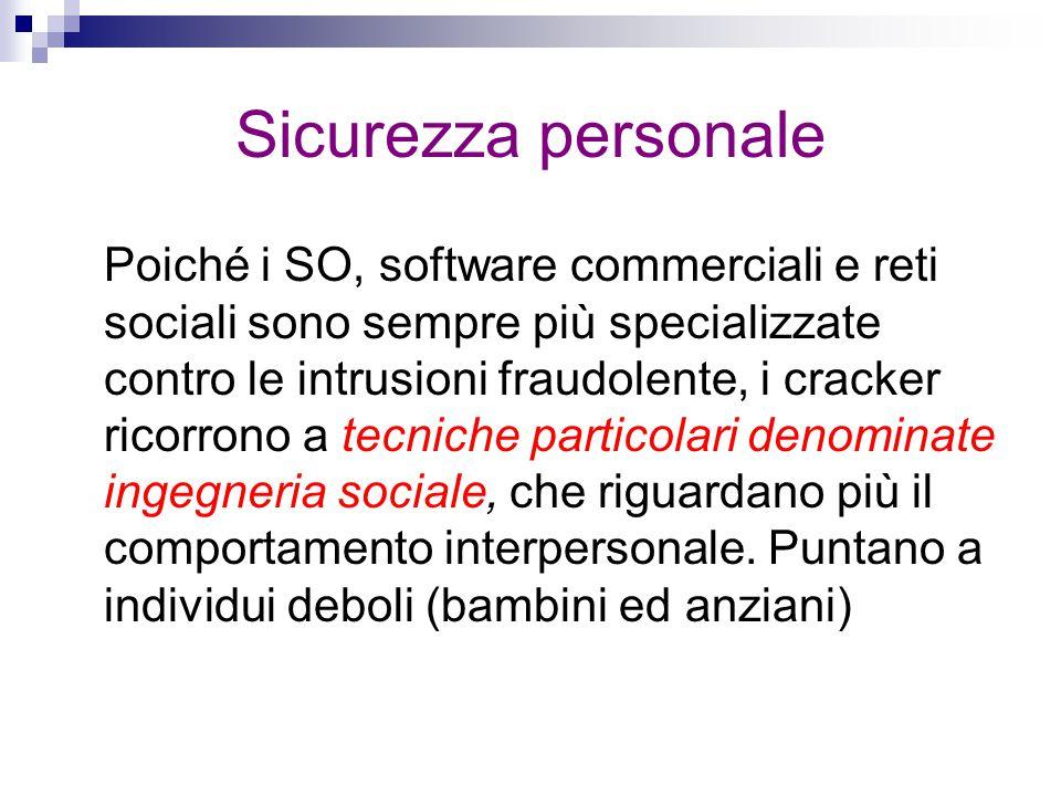Sicurezza personale Poiché i SO, software commerciali e reti sociali sono sempre più specializzate contro le intrusioni fraudolente, i cracker ricorro