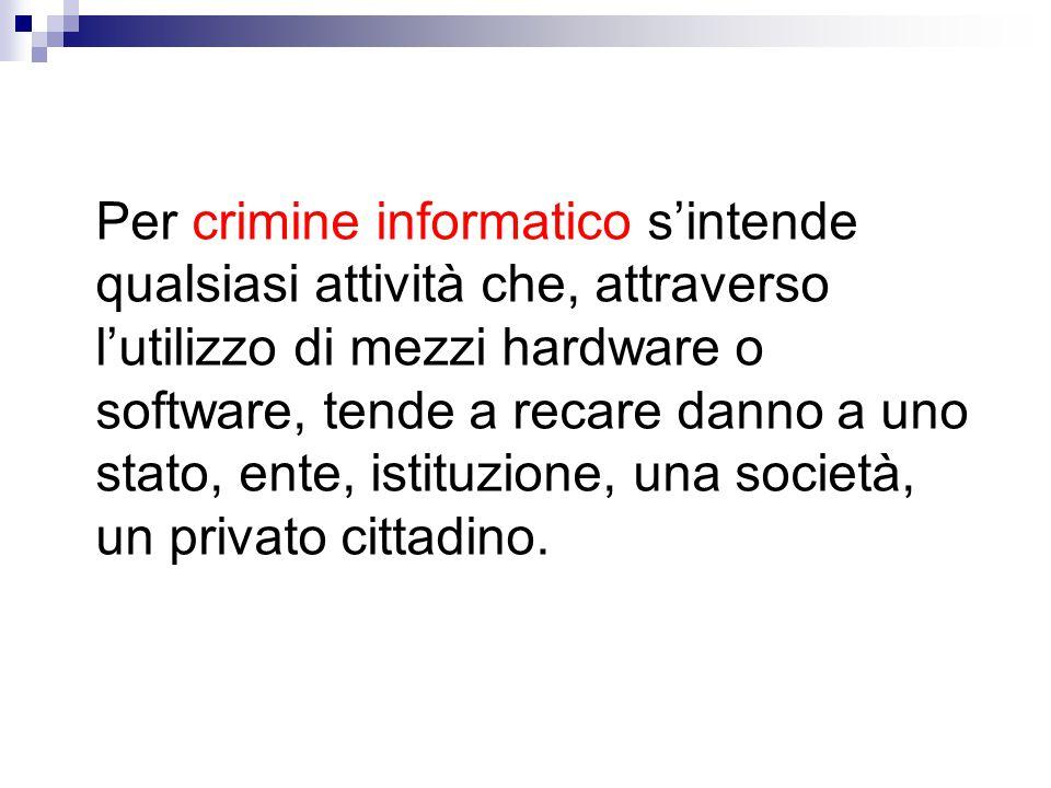 Per crimine informatico s'intende qualsiasi attività che, attraverso l'utilizzo di mezzi hardware o software, tende a recare danno a uno stato, ente,