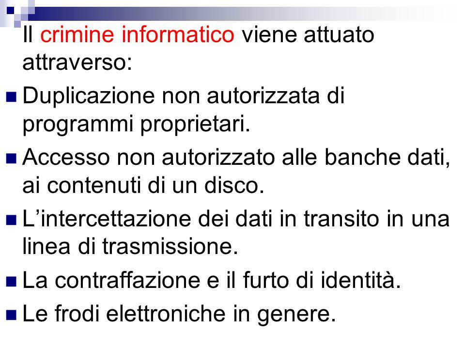 Il crimine informatico viene attuato attraverso: Duplicazione non autorizzata di programmi proprietari. Accesso non autorizzato alle banche dati, ai c