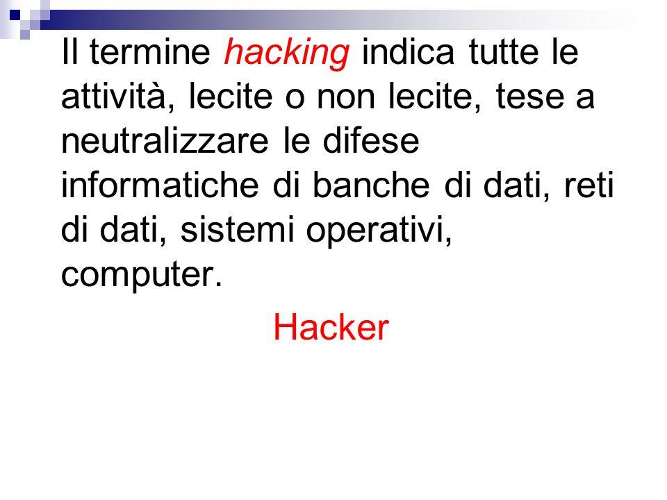 Il termine hacking indica tutte le attività, lecite o non lecite, tese a neutralizzare le difese informatiche di banche di dati, reti di dati, sistemi