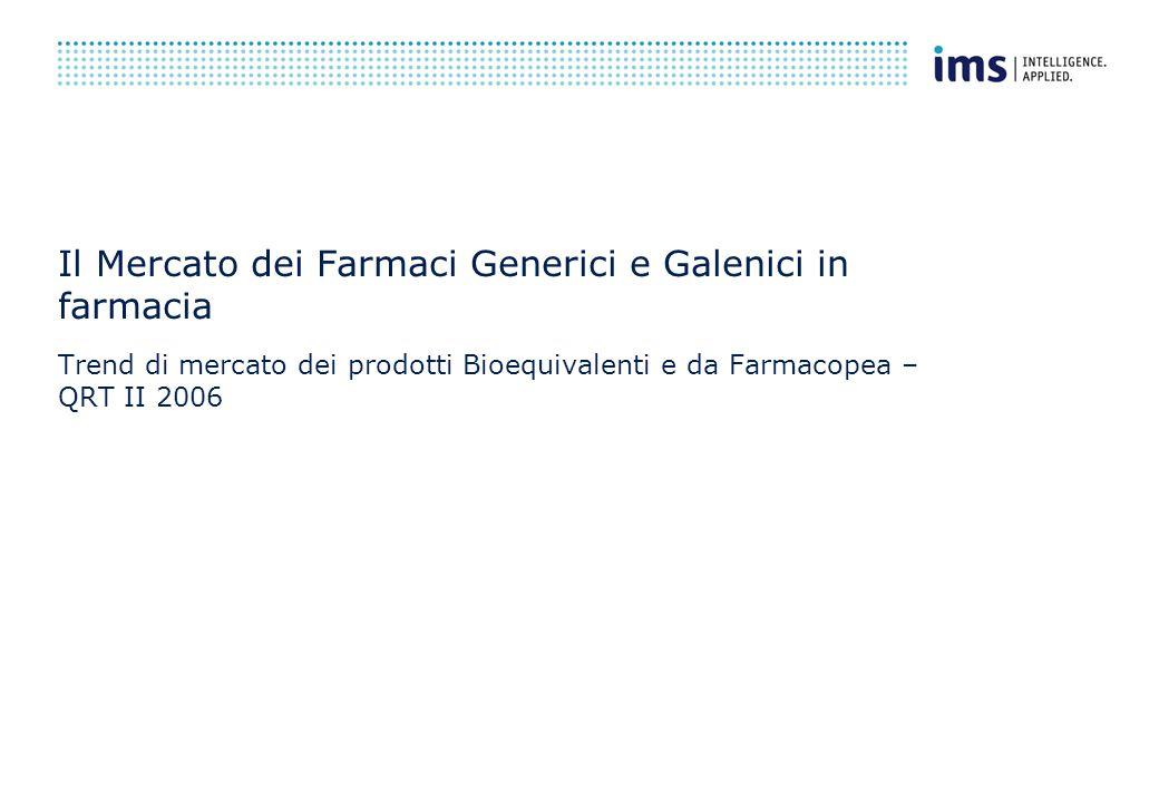 Il Mercato dei Farmaci Generici e Galenici in farmacia Trend di mercato dei prodotti Bioequivalenti e da Farmacopea – QRT II 2006
