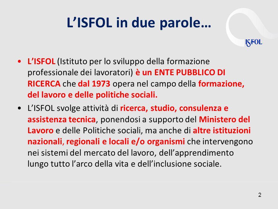 2 L'ISFOL in due parole… L'ISFOL (Istituto per lo sviluppo della formazione professionale dei lavoratori) è un ENTE PUBBLICO DI RICERCA che dal 1973 opera nel campo della formazione, del lavoro e delle politiche sociali.