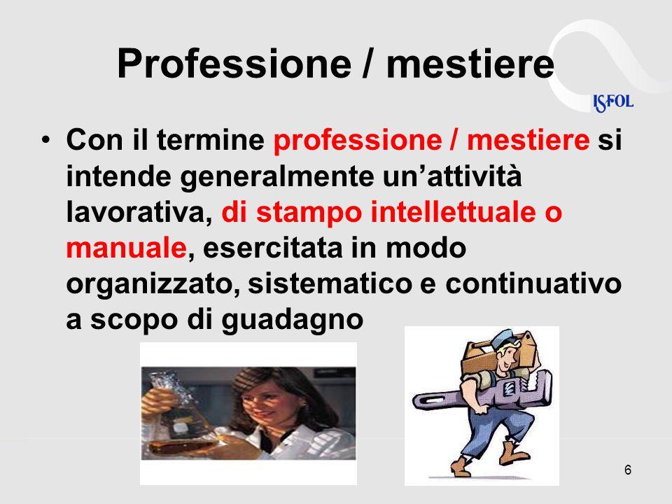 Professione / mestiere Con il termine professione / mestiere si intende generalmente un'attività lavorativa, di stampo intellettuale o manuale, esercitata in modo organizzato, sistematico e continuativo a scopo di guadagno 6