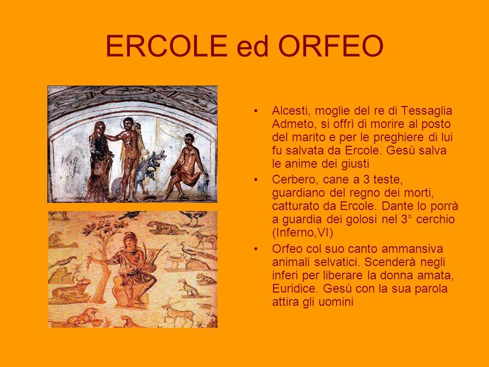 ERCOLE ed ORFEO Alcesti, moglie del re di Tessaglia Admeto, si offrì di morire al posto del marito e per le preghiere di lui fu salvata da Ercole. Ges