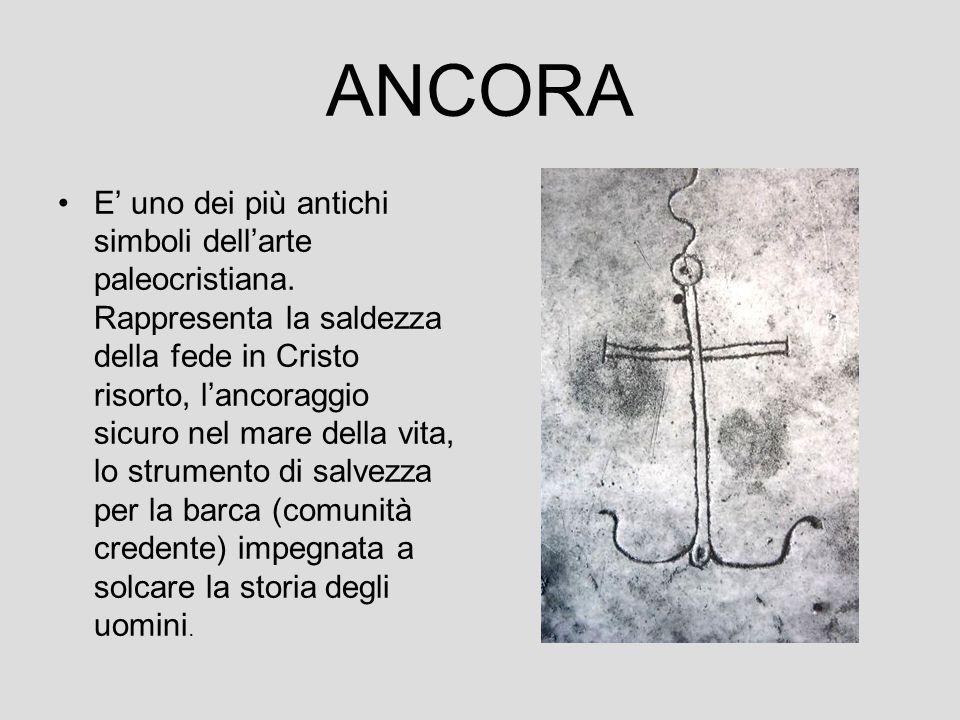 ANCORA E' uno dei più antichi simboli dell'arte paleocristiana. Rappresenta la saldezza della fede in Cristo risorto, l'ancoraggio sicuro nel mare del