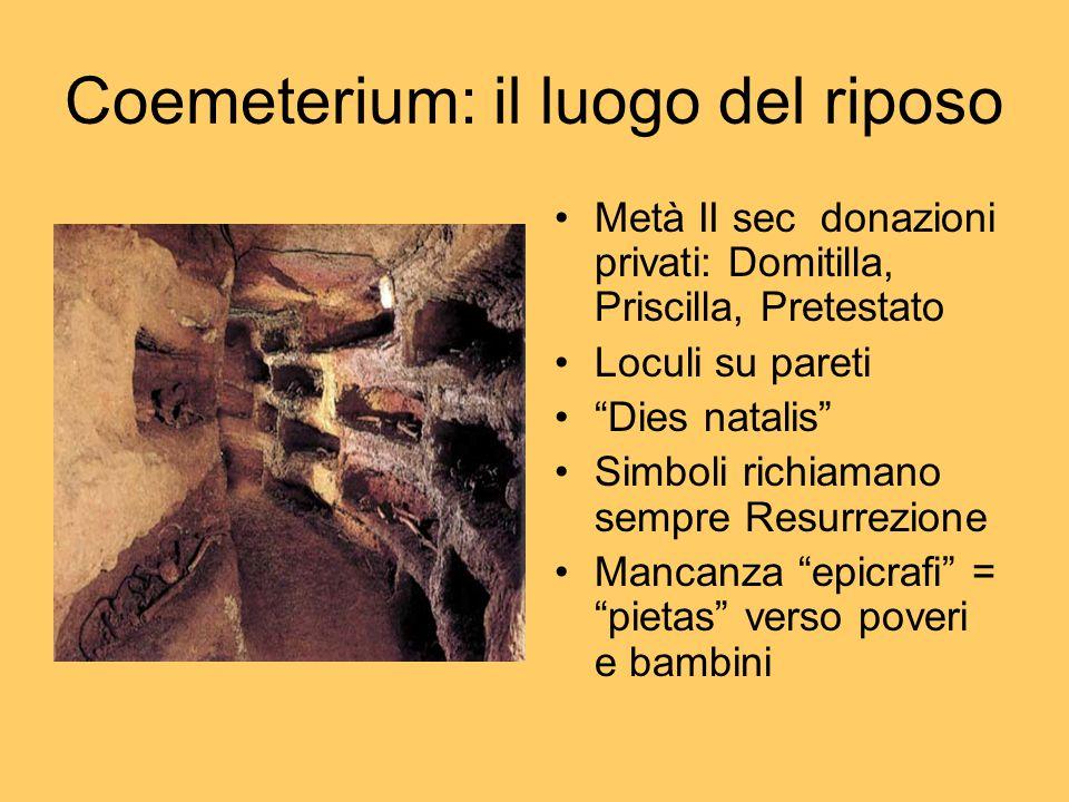 """Coemeterium: il luogo del riposo Metà II sec donazioni privati: Domitilla, Priscilla, Pretestato Loculi su pareti """"Dies natalis"""" Simboli richiamano se"""