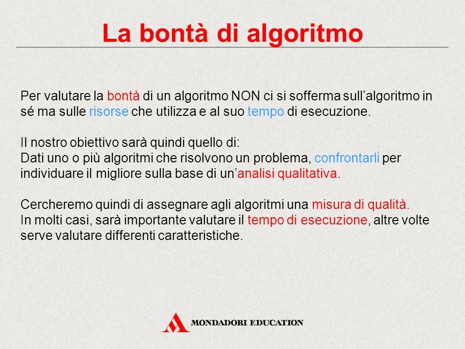 Complessità computazionale Il numero di operazioni di un algoritmo è legato anche alla dimensione dei dati di input (N), perciò risulta da essa definibile.