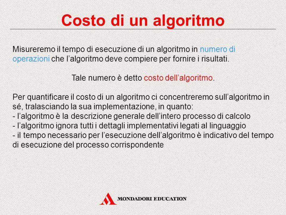 Costo istruzioni semplici La prima regola di valutazione per il calcolo del costo delle istruzioni di un algoritmo riguarda le istruzioni semplici: Le istruzioni semplici quali lettura, scrittura, assegnamento hanno un costo pari a uno.