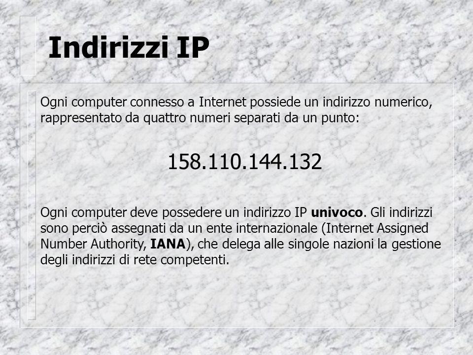 Indirizzi IP Ogni computer connesso a Internet possiede un indirizzo numerico, rappresentato da quattro numeri separati da un punto: 158.110.144.132 Ogni computer deve possedere un indirizzo IP univoco.
