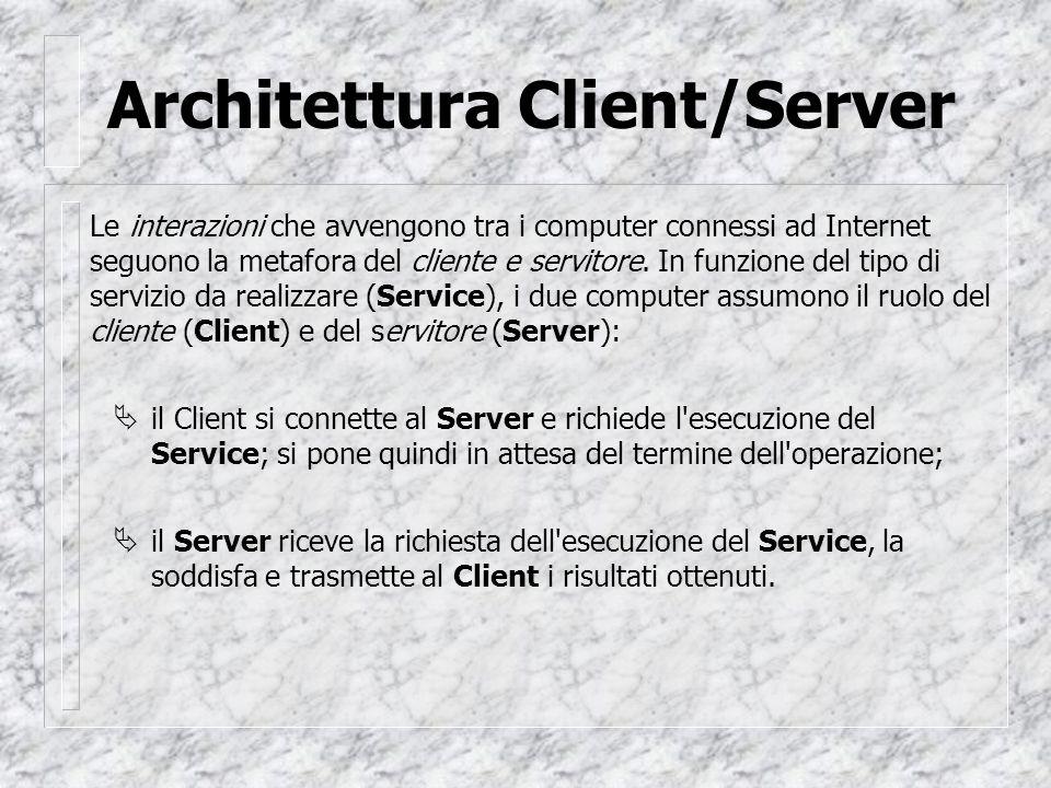 Architettura Client/Server Le interazioni che avvengono tra i computer connessi ad Internet seguono la metafora del cliente e servitore.